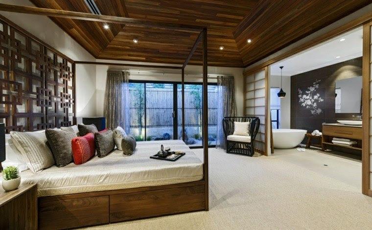 cama dosel madera color oscuro dormitorio abierto bano ideas