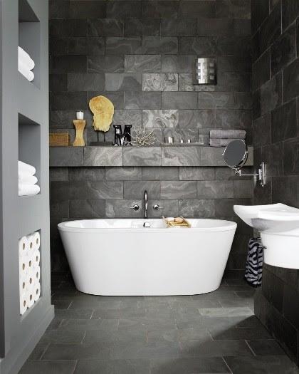 Dark slate contrasting bathroom - Contemporary - Bathroom ...