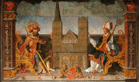 Fresco in the Townhall in Bremen, symbolically showing the creation and transferring of the diocese of Bremen, to Bishop of Bremen, St. Willehad by the Emperor Charlemagne. The diocese, a model of the Bremen Cathedral, in its form of 1532, is located between the two. Photo by Godewind