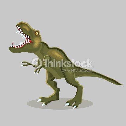 Ilustración De Dibujos Animados De Vector De Un Dinosaurio Trex Trex