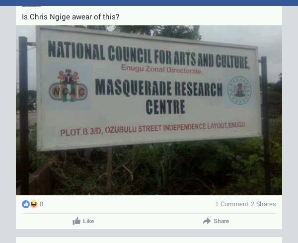 Masquerade Research Center Signpost In Enugu (photo)