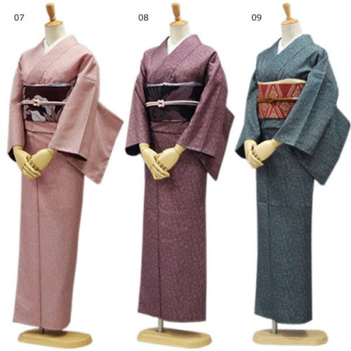 3 polyester kimono available on Yahoo Shopping. The pink and purple kimono have been paired with pink and purple obi, making them look dignified.  Using a red-orange with the greyish blue is an expected color choice, making it look both casual and adult. Mixing these obi around a bit would give them a little punch, or you could add saturated color in the obi accessories or eri.  Polyester kimono and obi 8 piece set, 19,800 yen.