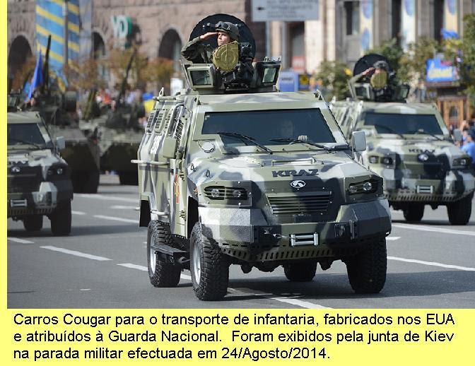 Parada militar realizada pela junta de Kiev.