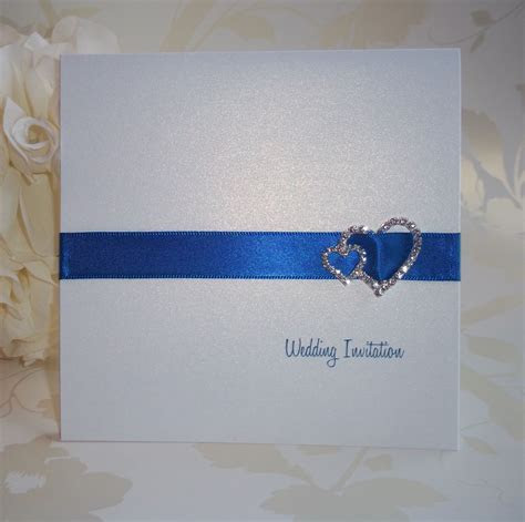 Elegance Wedding Invitation: Royal Blue Ribbon with Double