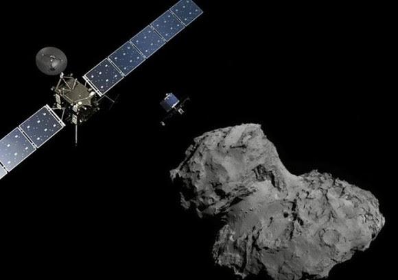 Recreación artística de la misión Rosetta-Philae junto al cometa 67P/Churiumov-Guerasimenko