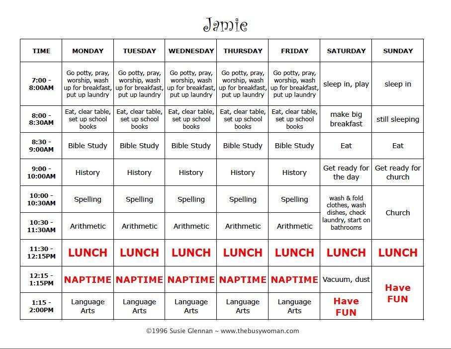 Daily Schedule Sample | Daily Agenda Calendar