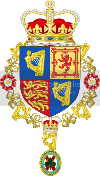 Small Royal Coat of arms with St Patrick Order collar photo SmallRoyalCoatofarmswithStPatrickOrdercollar.png