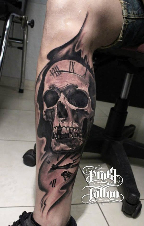 Skull And Eye Clock Tattoo