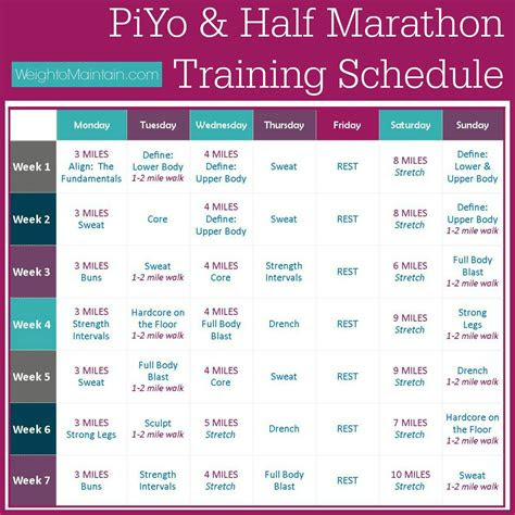 piyo  marathon training plan  piyo  cross