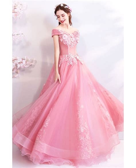 Gorgeous Pink Lace Ball Gown Formal Prom Dress With