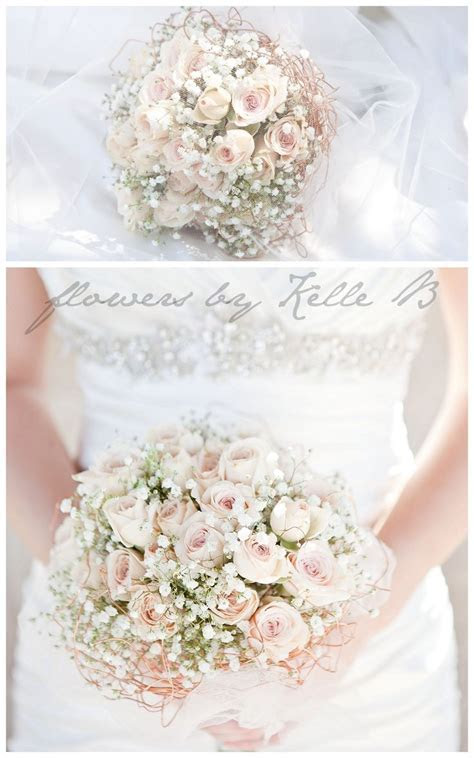 pink and babys breath wedding bouquet   Google Search