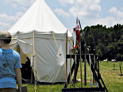 tent and weapons