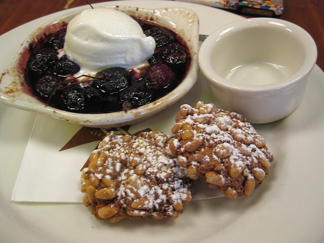 Pizzeria Mozza cherries and forno with greek yogurt gelato and pine nut cookies