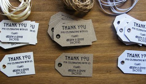Personalised Wedding Thank You Favour Tags  Vintage Art