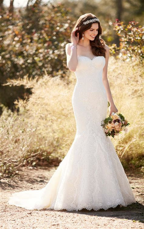 Fit and Flare Wedding Dress with Chapel Train   Essense of
