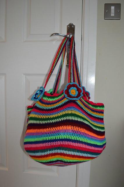 Rainbow crochet bag on door