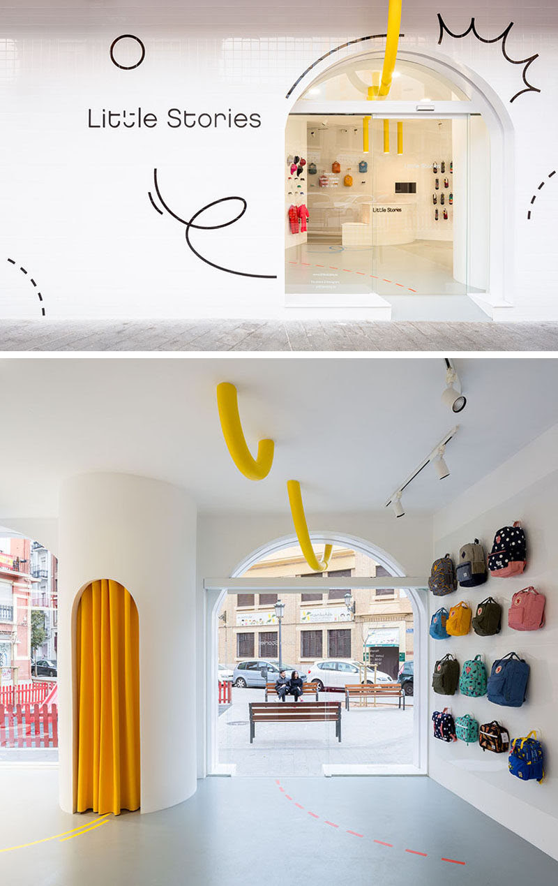 Fun graphics, a sans serif font and a yellow pipe are featured on the exterior of this modern retail store and guide you inside. #ModernRetailStore #Graphics