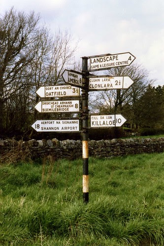 Co.Clare Fingerpost - signpost, Ireland April 1989