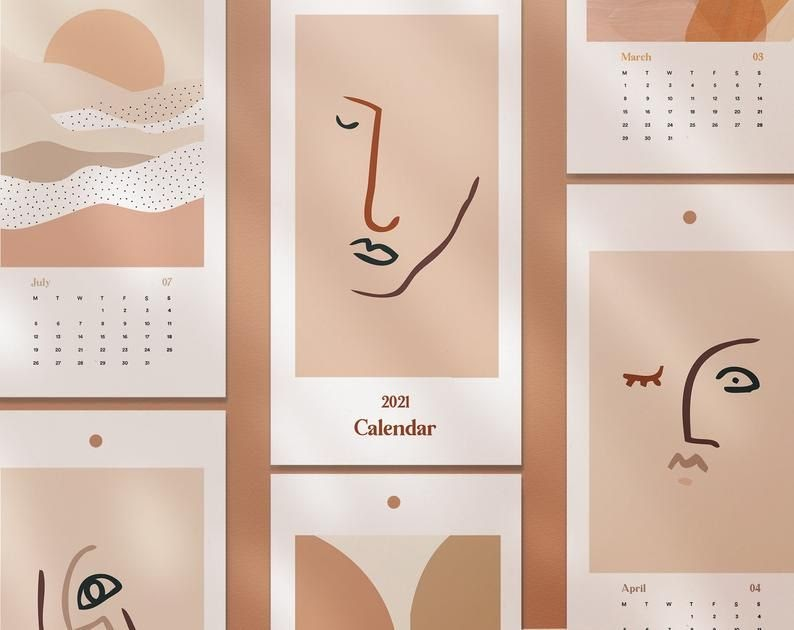 2021 Wall Calendar Aesthetic - YEARMON