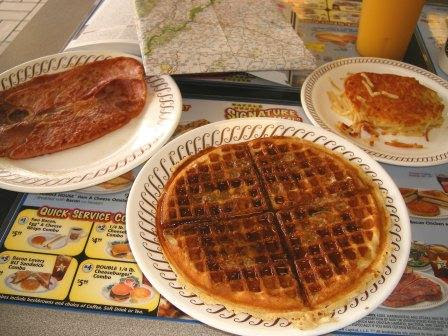 Pecan Waffle with Hasbrowns and Coutry Ham from Waffle House