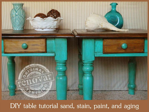 DIY two tone table makeover