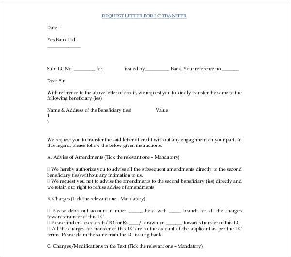 9 Transfer Request Letter Pdf Doc Free Premium