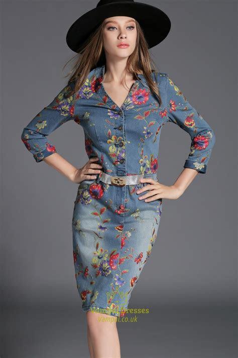 flower print button closure long sleeve denim dress