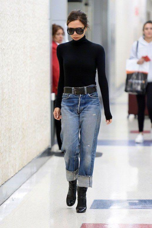 Le Fashion Blog Victoria Beckham Oversized Sunglasses Black Turtleneck Black Belt Cuffed Boyfriend Distressed Jeans Black Booties Via Vogue