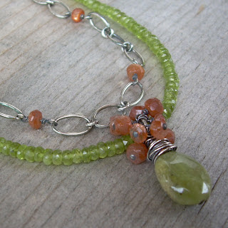 green orange necklace