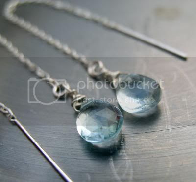 Aqua blue topaz silver chain earrings