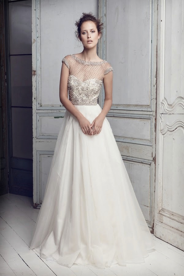 Lattice Pearls Beaded Bodice Gown by Collette Dinnigan | Bridal Musings (1)