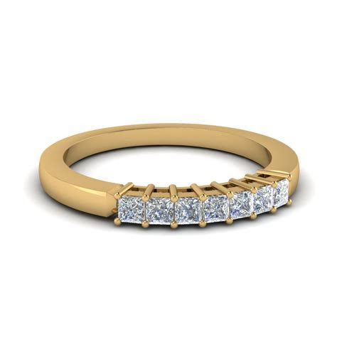 Princess Cut 7 Stone Wedding Band In 14K Yellow Gold