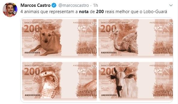 Naja, ema e vira-lata caramelo: nota de R$ 200,00 gera festival de memes