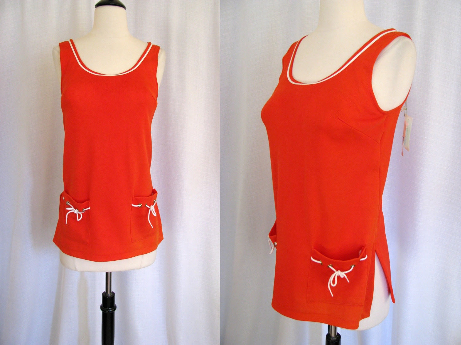 Vintage 1960s Carol Brent Tangerine Orange and White Swimsuit Top with Original Tags - NWT Size S