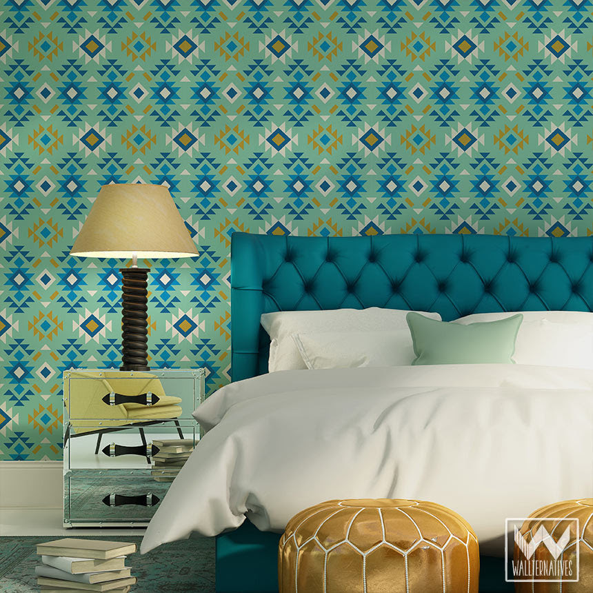 Aztec Removable Wallpaper for DIY Tribal Wall Decor - Wallternatives