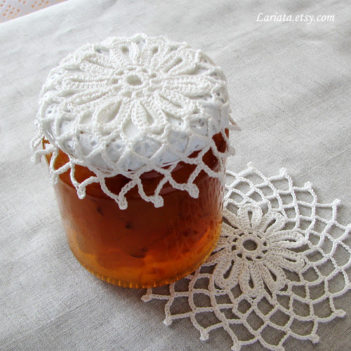 plum jam with handmade crocheted cover