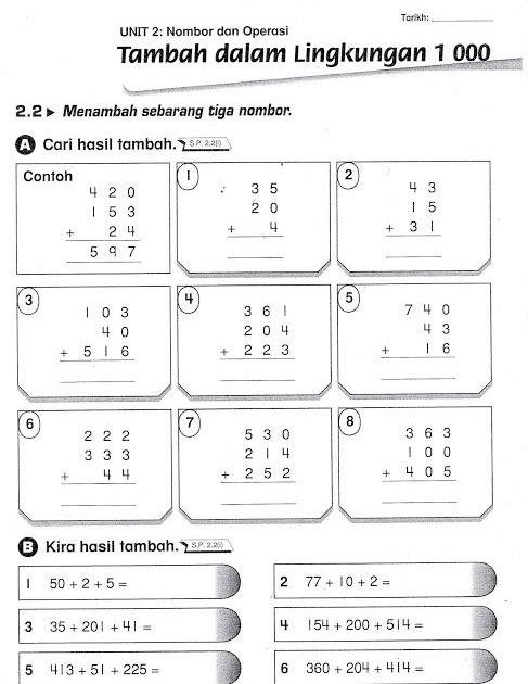 Contoh Soalan Latih Tubi Matematik Tahun 3 T Soalan