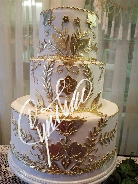 18kt Gold Wedding Cake » Cynthias Cakes, LLC