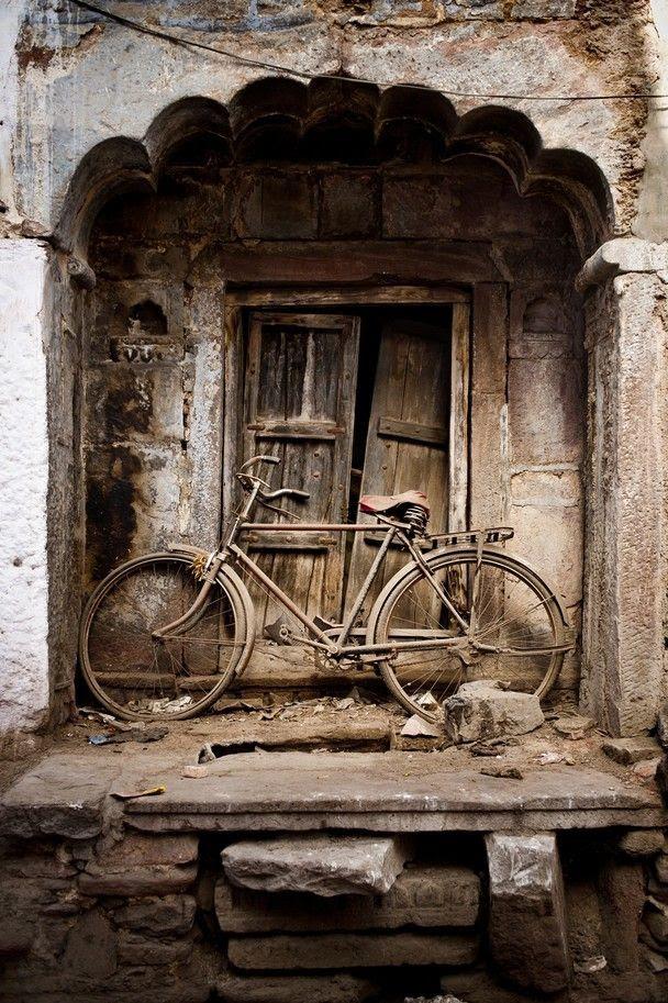 old bike old building