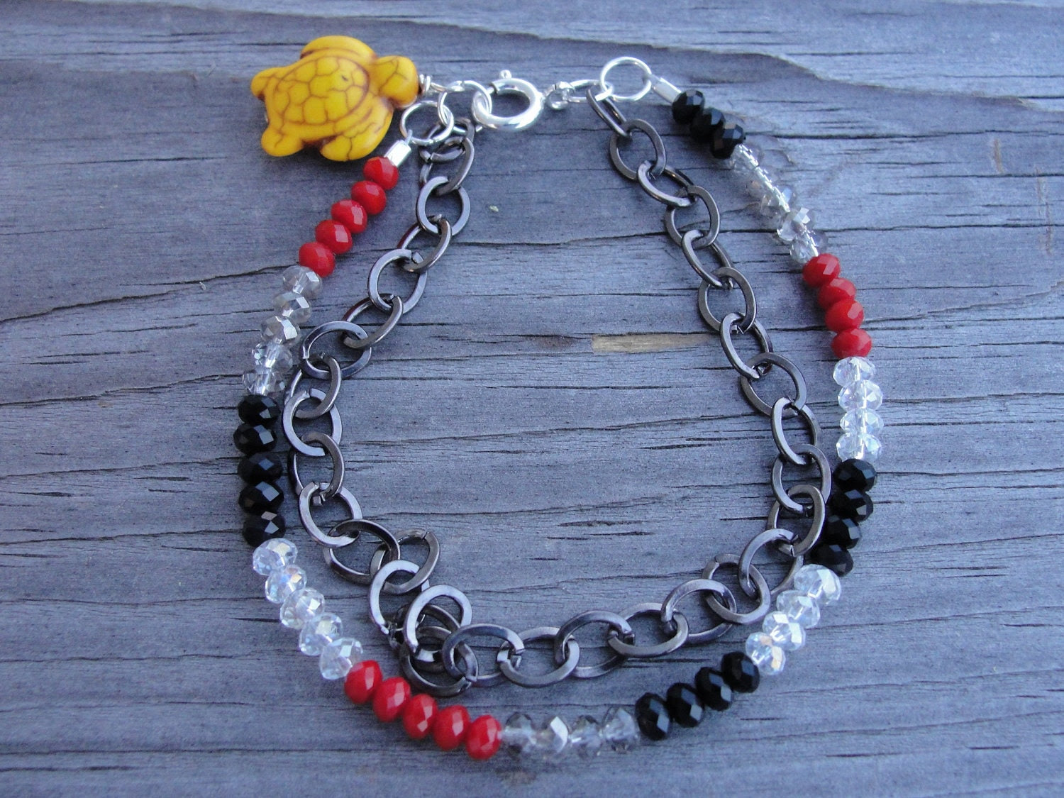 Red White Black Crystal and Chain Sea Turtle Two Strand Bracelet