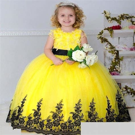 Yellow Blue Ball Gown Flower Girl Dresses For Weddings