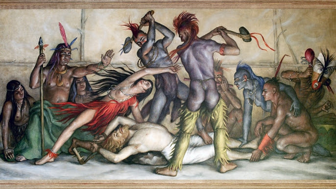 "Painting depicting Pocahontas ""saving"" John Smith's life, at the Richmond, Virginia, Court Annex."