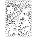 Free Coloring Page Christmas Cat