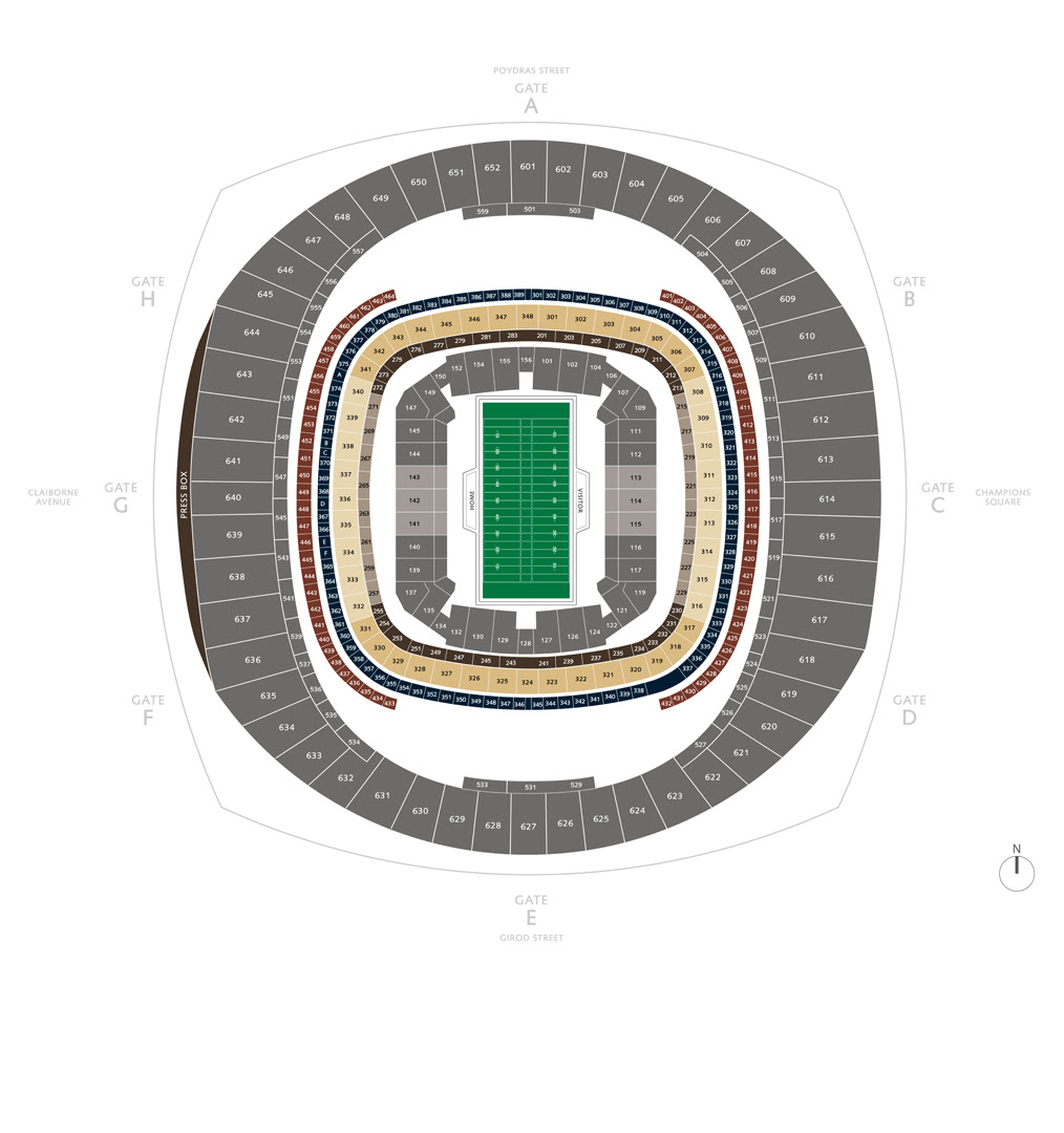 Football Seating Charts | Mercedes-Benz Superdome