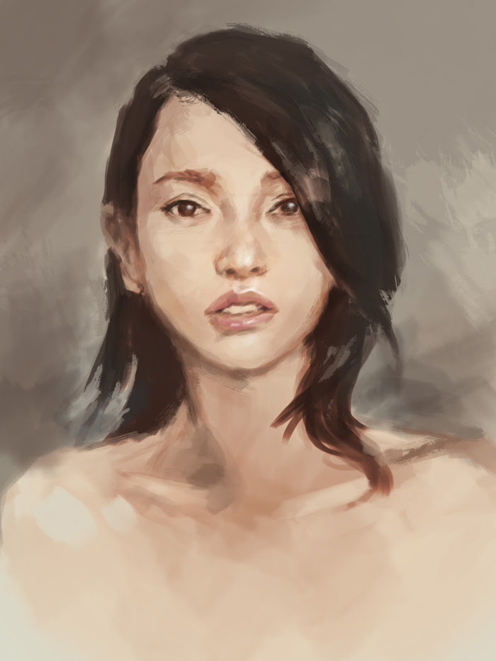 painting beautiful asian woman portrait