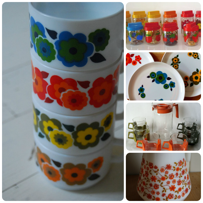 Pyrex cups, plates and jug