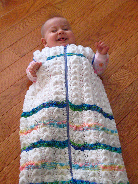 Free knitting pattern for Shell Lace Baby Bunting