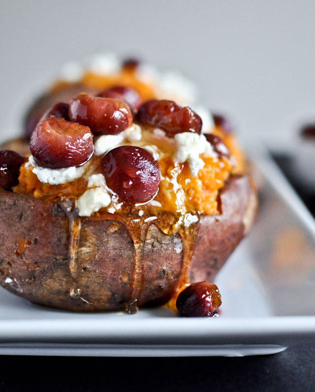 Roasted grape, goat cheese + honey stuffed sweet potatoes
