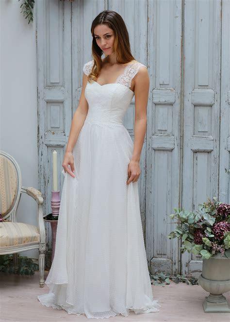 Ivory Lace Polka Dot Organza Straps Floor Length Wedding Dress
