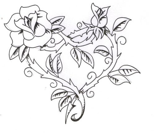 Heart Rose Drawing At Getdrawingscom Free For Personal Use Heart